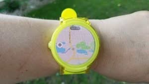 Google Maps on Ticwatch E in Lemon Yellow. Also available in black and white