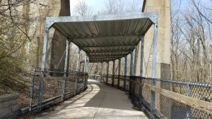I walked beneath this metal structure beneath a railroad bridge