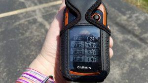 Distance displayed on Garmin eTrex 20 handheld GPS: 1.24 miles