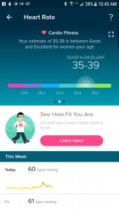 My cardio fitness score