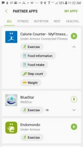 Setting up the permissions through the Samsung Health app to enable syncing with MyFitnessPal