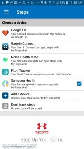 Select Samsung Health to have your steps synced to MFP
