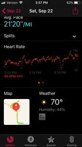 Heart rate data from the Apple Watch