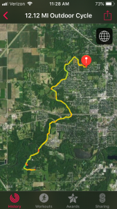 Satellite view of the bike ride
