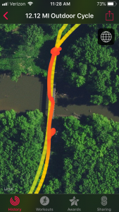 The satellite view of the bike ride