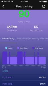 Sleep tracking including how much time was spent in light and deep sleep and my sleep quality score