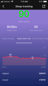 My heart rate during sleeping showing highest, lowest, and average heart rate