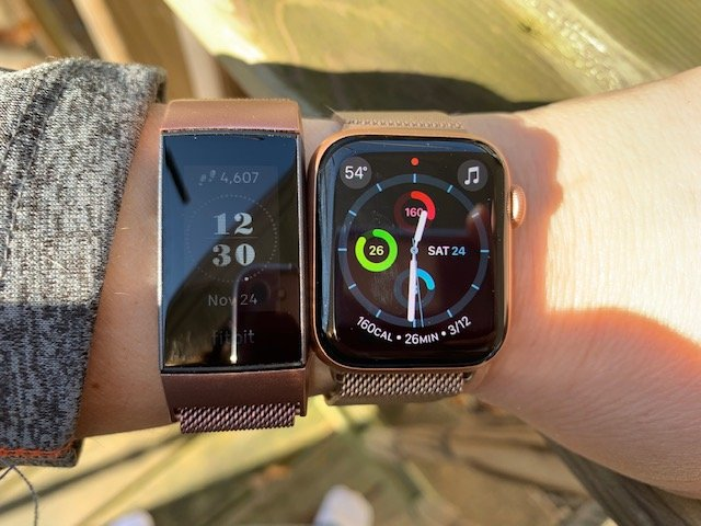 Fitibit Charge 3 and the Apple Watch Series 4