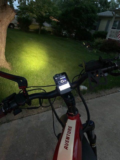 Aventon Aventure front light brightness in the dark